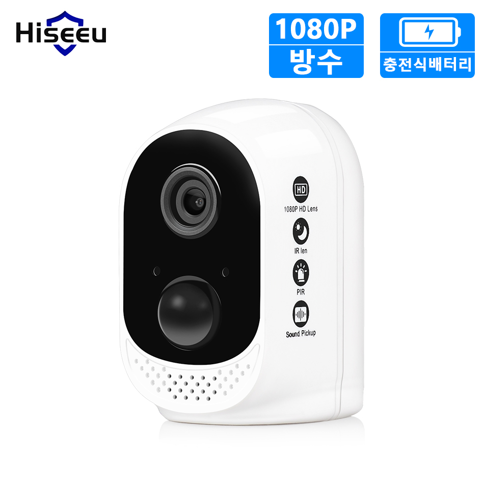 Hiseeu HD 1080P wifi security IP Camera with Rechargeable Battery wireless home safety cctv Camera PIR alarm IP66 Waterproof