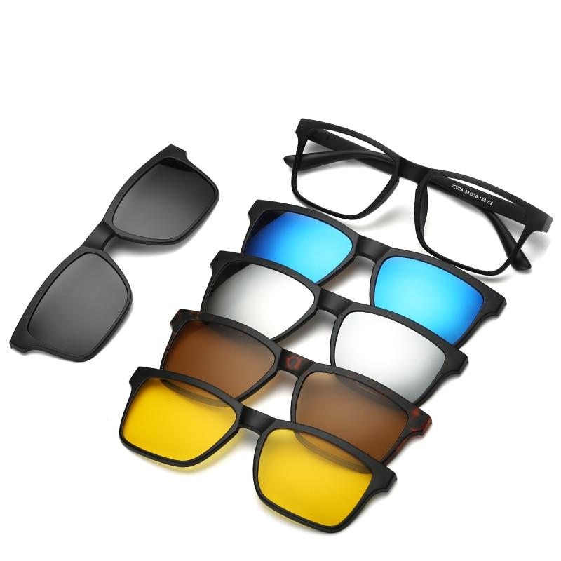 AOO Lightweight Computer Glasses for Women Men,Anti Eyestrain Filter Blue Light Glasses with UV Protection Blue Light Blocking Glasses with Magnetic Polarized Sunglasses Clip on 2 in 1 Set