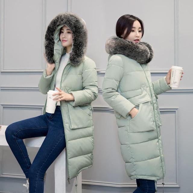 2016 Fashion Long Winter Jacket Women Slim Solid Hooded Fur Collar Zippers Pocket Ladies Long Jacket Warm Down Coat Plus Size