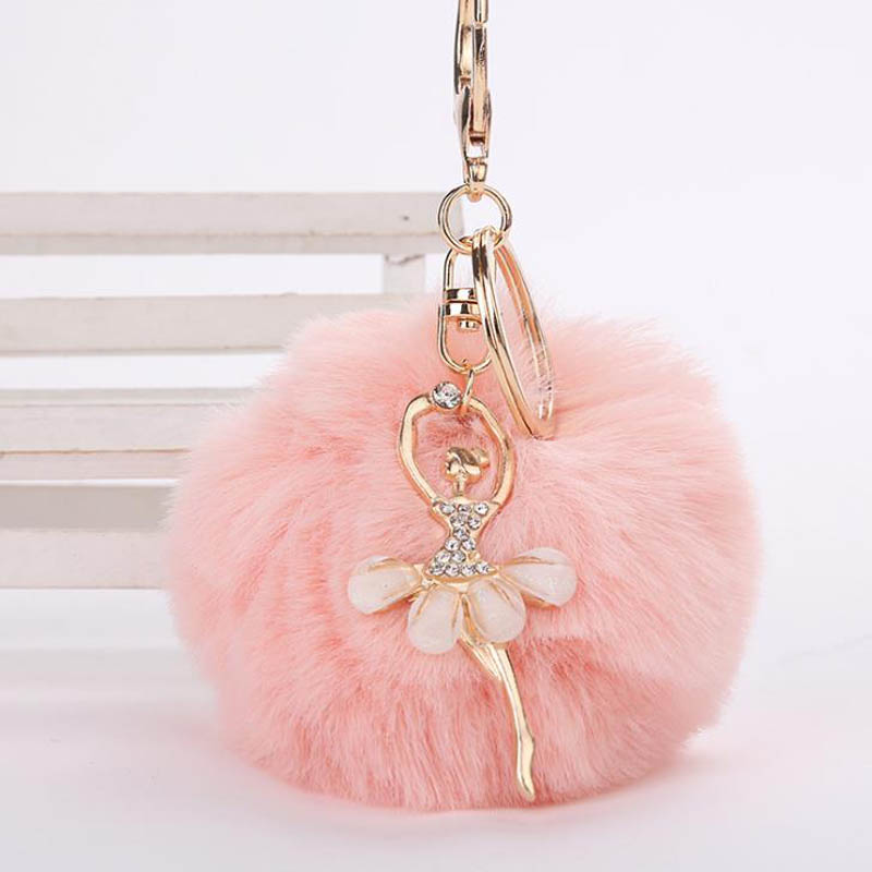 Cute Dancing Angel Keychain Pendant Women Key Chain Holder Fluffy Fake Pompoms Key Chains Gifts For Bag Accessories