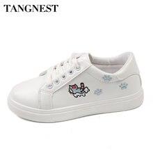 f85c50465c Tangnest Mulheres Brancas Vulcanizada Sapatos Primavera Outono Mulheres de  Couro Pu Sapatos Casuais Estampas de Animais
