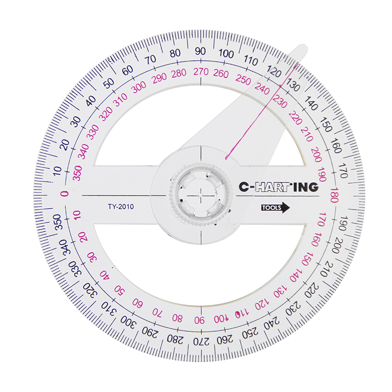1 PC New Tool 360 Degree Pointer Protractor Round Transparent Drafting Supplies Protractor Office And School Supplies