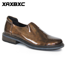 XAXBXC 2018 Spring New Oxfords Brogue Shiny Patent Leather Dark Gold Loafer Rubber Bottom Female Casual