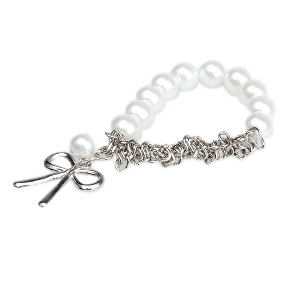 Hot Sale Summer Style Cute Bowknot Beads Rubber Bands Faux Pearl Charm  Braclet Women Imitation Pearl