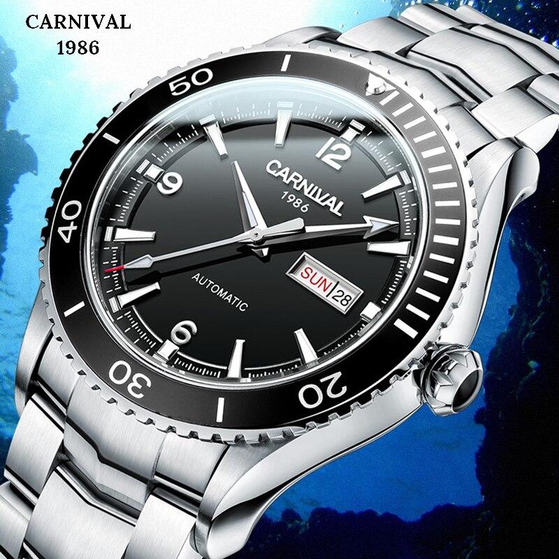 Mergulho 50M Mens Relógios Top Marca de Luxo Relógio Mecânico Automático Dos Homens de Luxo de Aço Relógio À Prova D' Água Esporte Masculino Homem relógio de Pulso