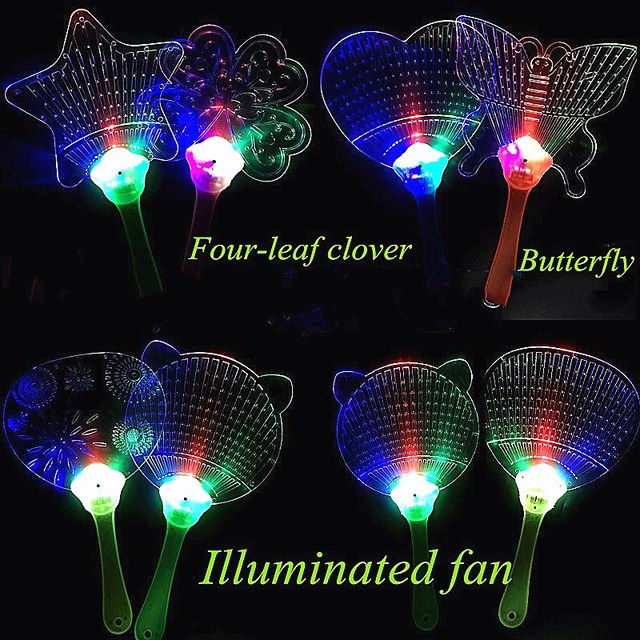 bcda47c7feb1 LED Luminous Toys 8 Styles Glowing Fan Light Up Toys Rave Stick for Kids  Glowing In The Dark Flash Cartoon Toys Halloween Party