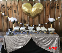 Grey Sequin Tablecloth 225x330cm Glitter Rectangular Embroidered Bling Table Cloths  for Wedding Party Christmas Banquet Decor