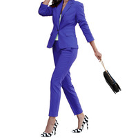 Two Piece Single Button Blazer Long Sleeve Women Formal Business Uniform Style Ladies Office Work Wear Set Suit