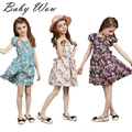 New Children Flower Girls Dresses For Party Hot Sale Korean Floral Pattern Big Girl Short Sleeve Dress Summer Clothes  tyh-30548