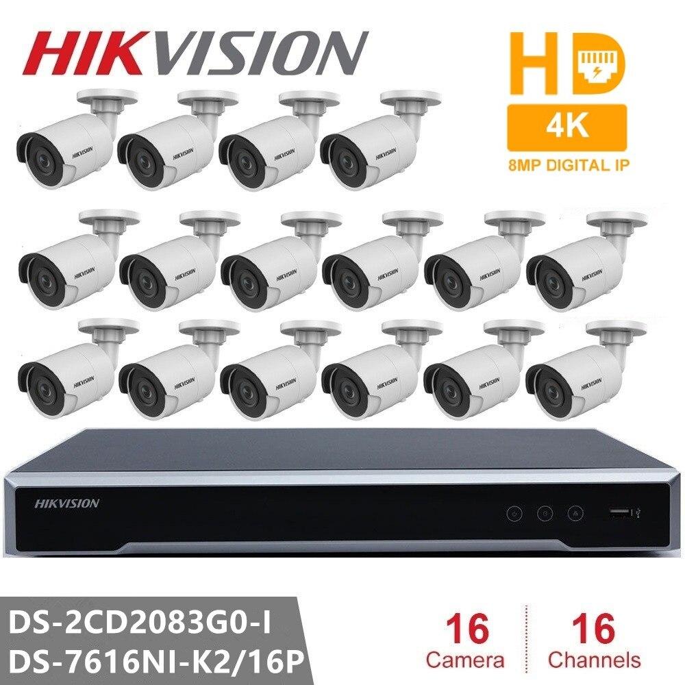 Hikvision Kits de caméra IP de sécurité 16CH intégré Plug & Play 4 K H.265 NVR 8MP CCTV Camer DS-2CD2083G0-I caméra réseau POE