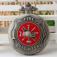 Red Fire Fighter Pocket Watch Vintage Bronze Steampunk Firefighter Quartz Watches Men Women Pendant Gift Necklace TPB189