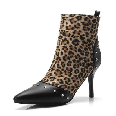 Party Plus Léopard Noir leopard Talons Boot Sex Rivets 43 Mince Bottes Femme  Grain Pu Femmes Sexy D hiver 33 Taille En Nouveau Cuir Cheville Chaussures  ... 10ccb3be5eda