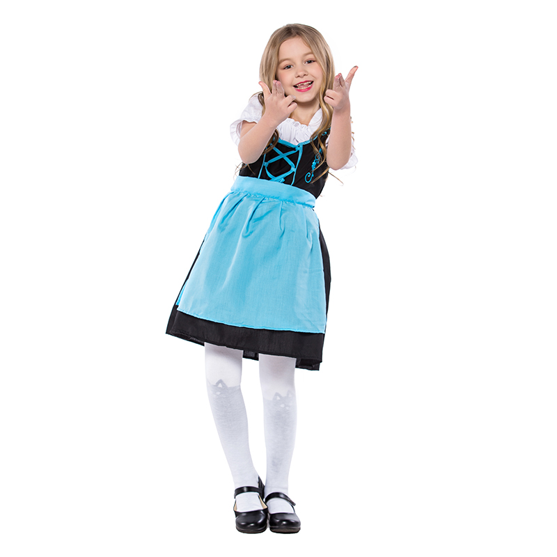 Costumes Kids Cute Girl Black and Blue Dresses + Apron Suit National Costumes Oktoberfest Event Cosplay Costumes