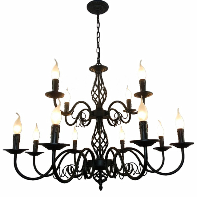 Luxury Rustic Wrought Iron Chandelier E14 Candle Black Vintage Antique Home  Chandeliers For Living room European - Luxury Rustic Wrought Iron Chandelier E14 Candle Black Vintage