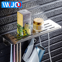 IWJOO Bathroom Gargle Cup Holder Storage Rack Toilet Stainless Steel Toothbrush Wall Mounted Accessories