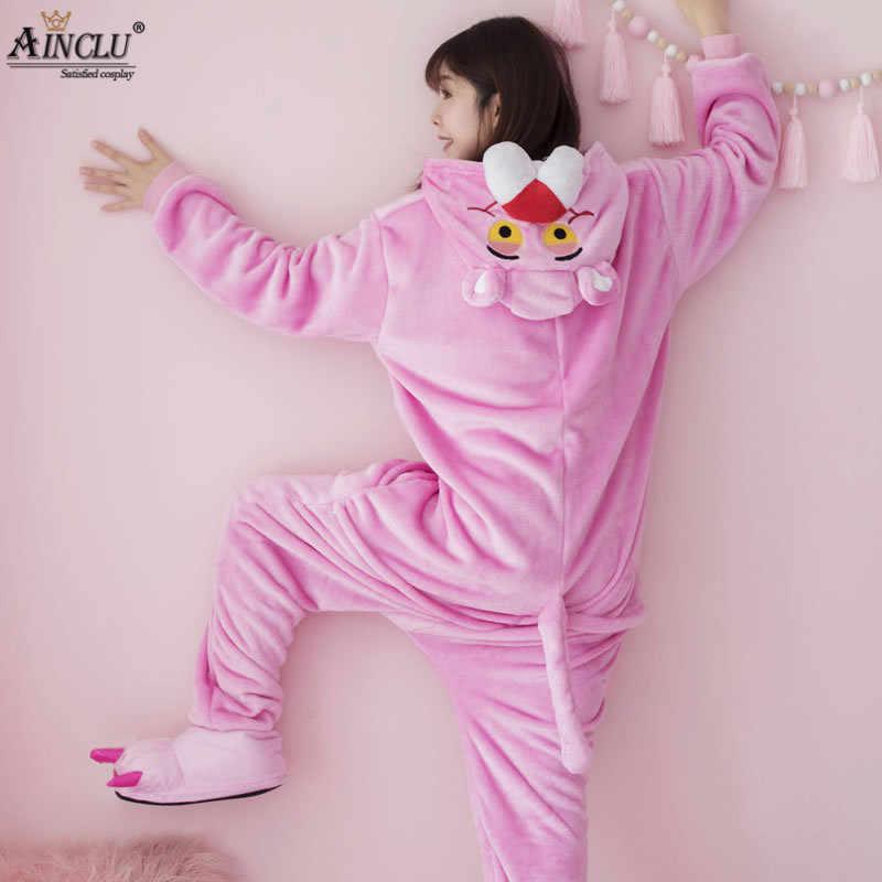 58b7ae45d7689 ... Милая Розовая пантера Женская комбинезон с капюшоном Косплей  комбинезоны с обувью для взрослых детей цельные пижамы ...