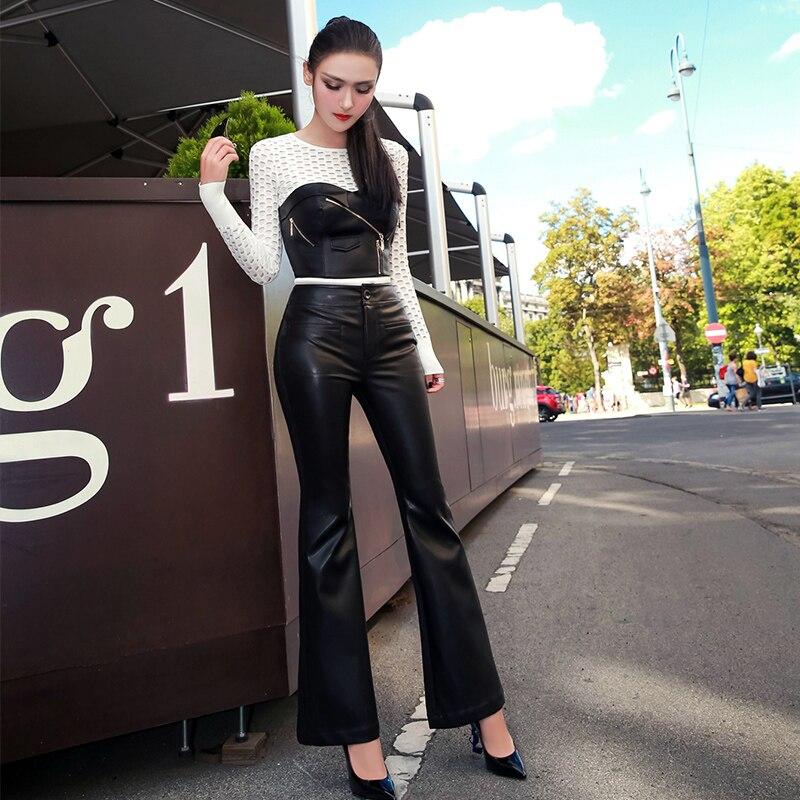 2019 Lulu Leggings réel précipité nouveauté Faux cuir régulier aucune femme pantalon tempérament perplexe pantalon évasé Pu femmes - 5