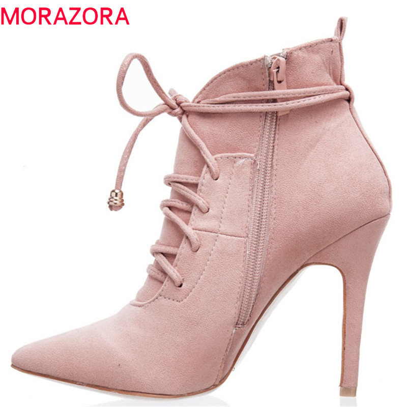 MORAZORA 2018 pink flock ankle boots for women pointed toe spring autumn boots zip +lace up fashion stiletto heels party shoes MORAZORA 2018 pink flock ankle boots for women pointed toe spring autumn boots zip +lace up fashion stiletto heels party shoes