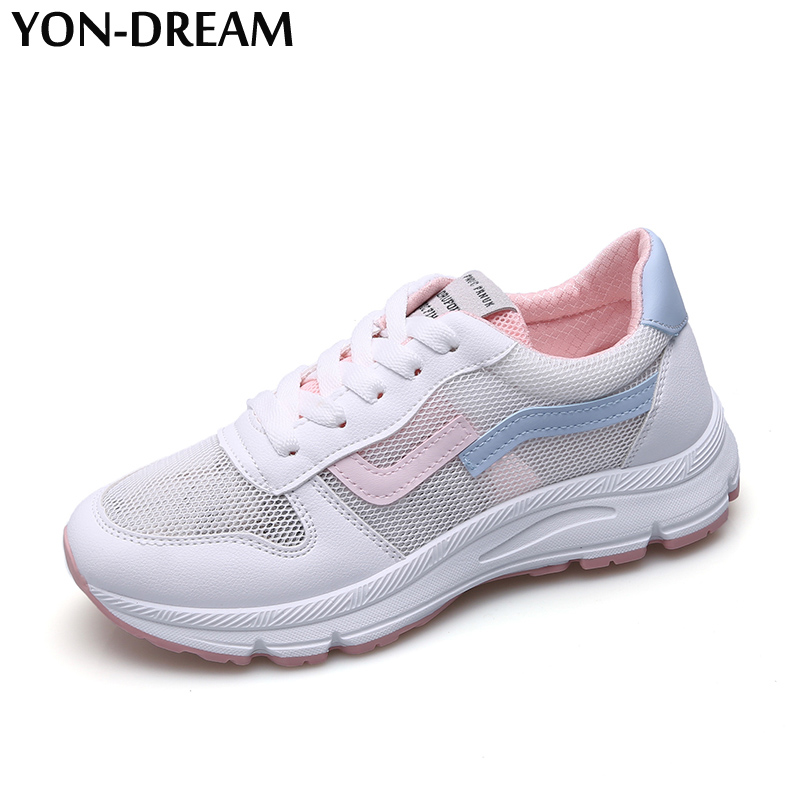 YON-DREAM New Designer Trends Air Mesh Women Shoes Super Breathable Sneakers Women Lace Up Shallow Patchwork Anti-skid Sneakers