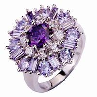 lingmei Wholesale Charming Flower Amethyst Tourmaline White Topaz 925 Silver Ring Size 7 8 9 10 11 12 Alluring Women Jewelry