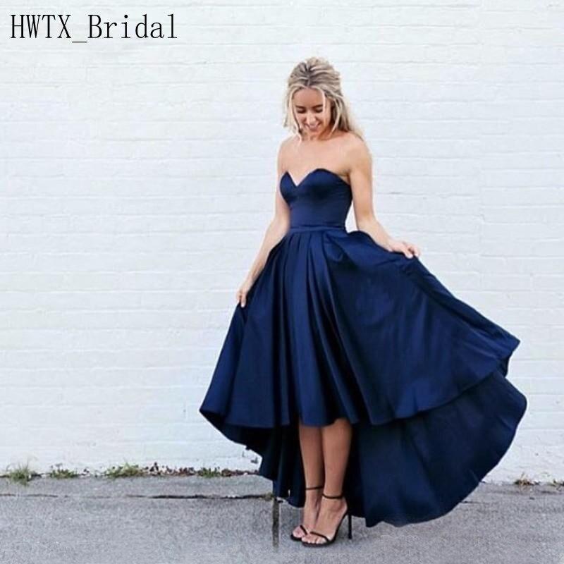 Royal Blue High Low Bridesmaid Dresses 2018 Plus Size A Line