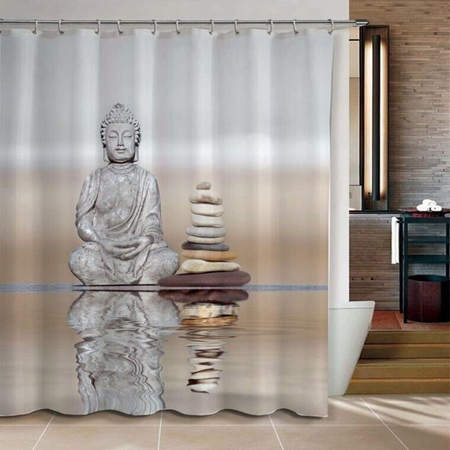 Buddha Pebble Reflection Design Shower Curtain Bathroom Waterproof Mildewproof Polyester Fabric With 12 Hooks 180cm