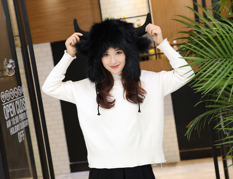 2017 Winter Faux Fox Fur Caps for Women Warm Bomber Hats with Ears Girls Novelty Cartoon Animals Party Caps Female Hats Gift 12
