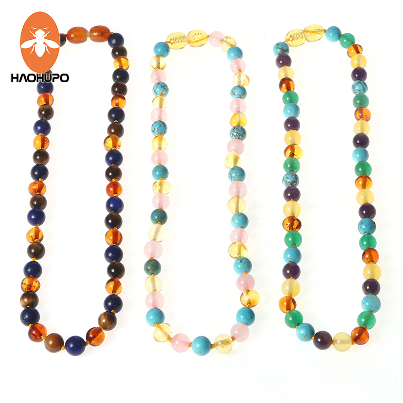 HAOHUPO 16 New Amber Bracelet/Necklace for Baby Mom Baltic Amber Bead Women Jewelry Gift Natural Amber with Gemstone Supplier(China)