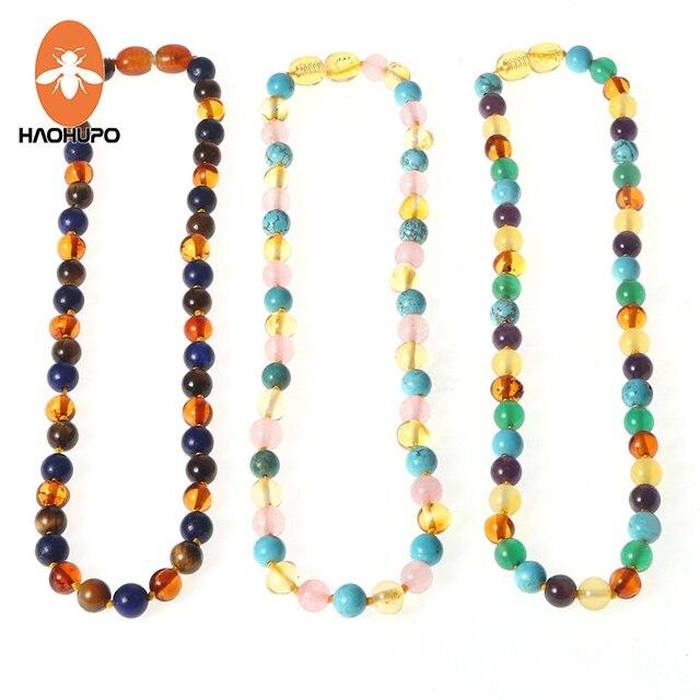 HAOHUPO 16 New Amber Bracelet/Necklace for Baby Mom Baltic Amber Bead Women Jewe