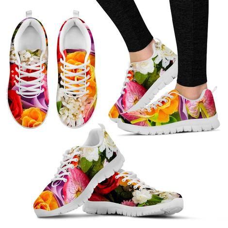 FORUDESIGNS Women's Shoes Flats Light Flower Mesh Ladies Sneakers Floral-Style Comfortable