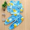 New boys pajamas set blue brown long sleeve hoodie+pant 2-piece set O-neck boys clothes kids pajamas set baby clothes