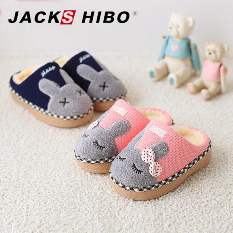 JACKSHIBO Winter Kids Slippers Child Winter Home Slippers Cartoon Bunny Slipper for Girl ...