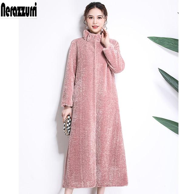 Nerazzurri Faux bontjas winter vrouwen 2019 new fashion casual warm extra lange lam bont jas plus size 5xl 6xl 7xl