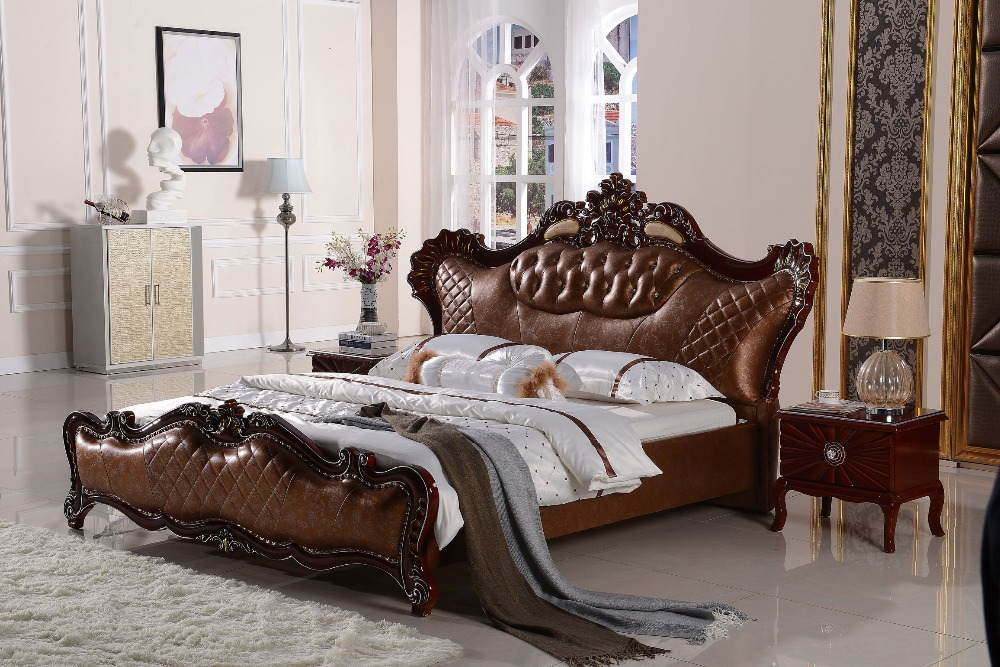 The modern designer leather soft bed / large double bedroom furniture, American style designer modern real genuine leather bed soft bed double bed king queen size bedroom home furniture american style