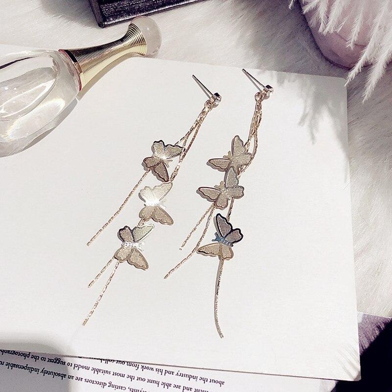 New Fashion Women Jewelry Butterfly Earrings Long Tassels Eardrop Female Temperament Pendant Earrings Girl Gift