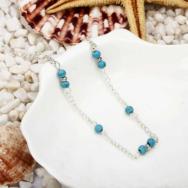 NS235 1 шт. уникальные простые бусины серебристого цвета цепь ножной браслет для женщин сувенир лодыжки браслет на ногу летние пляжные украшения