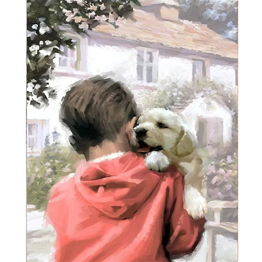 DIY Digital Painting By Numbers Package Little boy and dog mural Kits Coloring Wall Art Picture Gift frameless