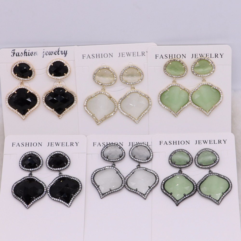 4 Pairs Small size Faceted Heart shape stones Mix colors drop earrings& dangle earring Trendy jewelry  for women 2471