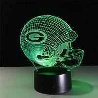 NFL Team 3D Night Light Green Bay Packers Helmet Lamp 7 Color Luminous Sport Cap Lampe Creative Home Table Desk Decor for Gift