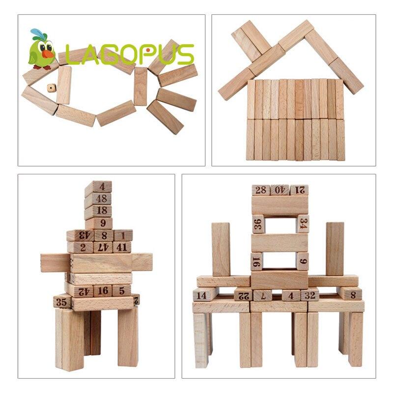 Lagopus 48 pièces Domino numérique Puzzle jouets en bois grand sur couche pile jouets éducatifs pour les enfants - 5