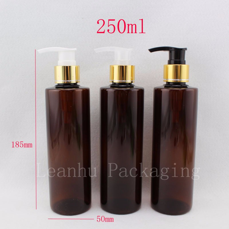 250ml-brown-bottles-with-gold-lotion-pump