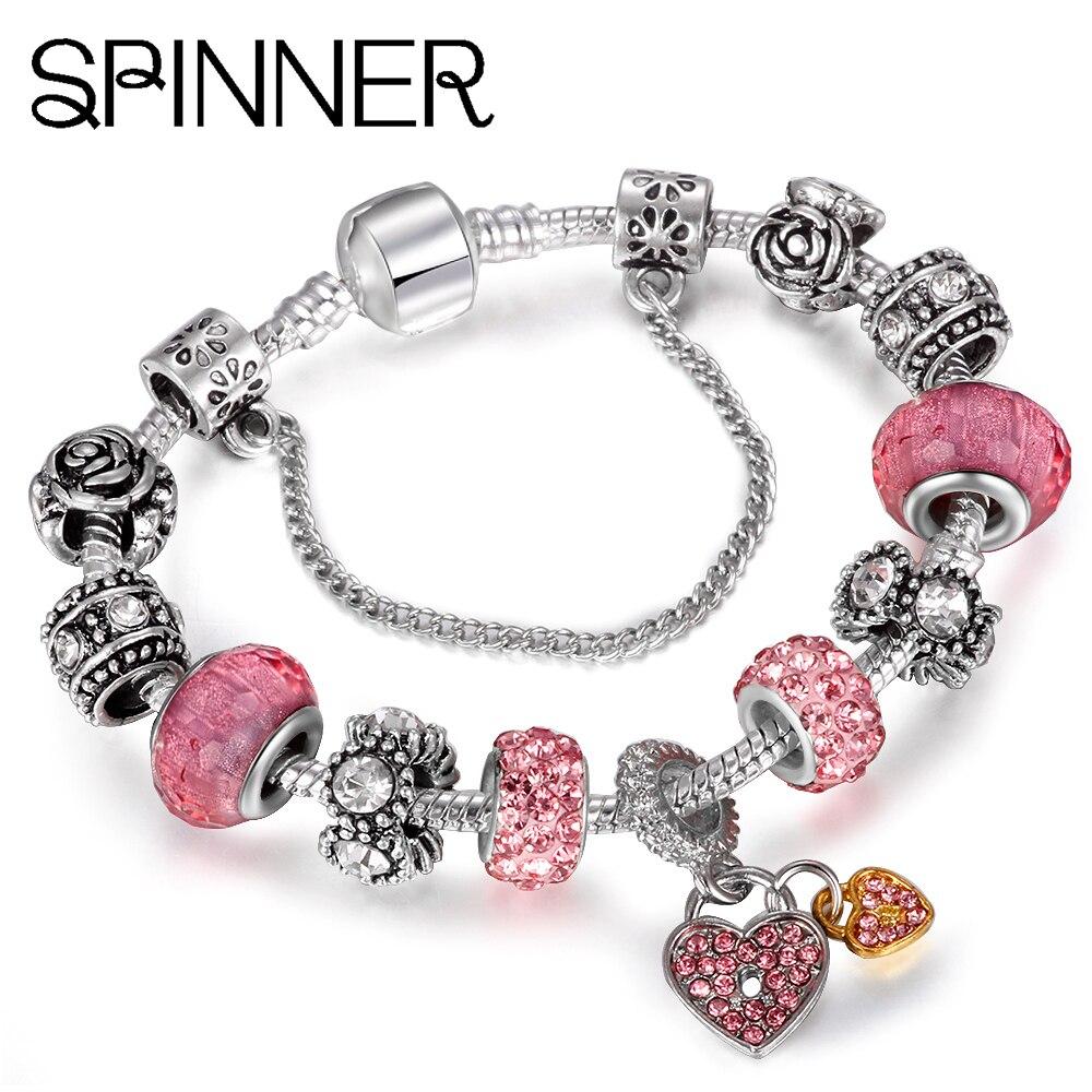HOMOD Heart Love Dangle Charm Bracelet for Women With Crystal Ball fit Snake Chain Brand Bracelets DIY Jewelry пандора браслет с шармами