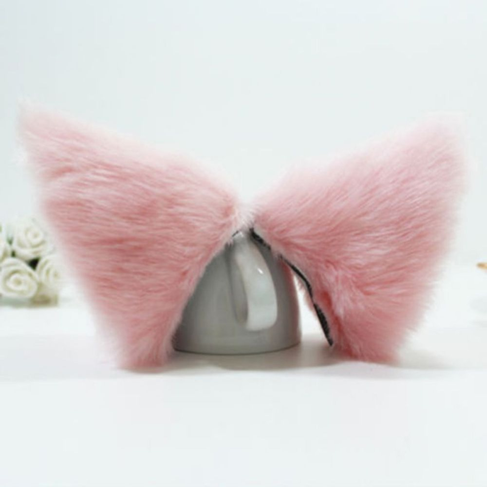 2017 Cute Cosplay Party Anime Costume Cat Fox Ears Long Fur Hair Clip Fashion 5 Colors cosplay party cat fox long fur ears neko costume hair clip halloween orecchiette y103