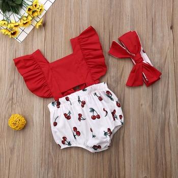 2pcs Newborn Baby Girl Ruffle Cherry Print Bodysuits Headband Sunsuit Outfits Summer Clothes 1