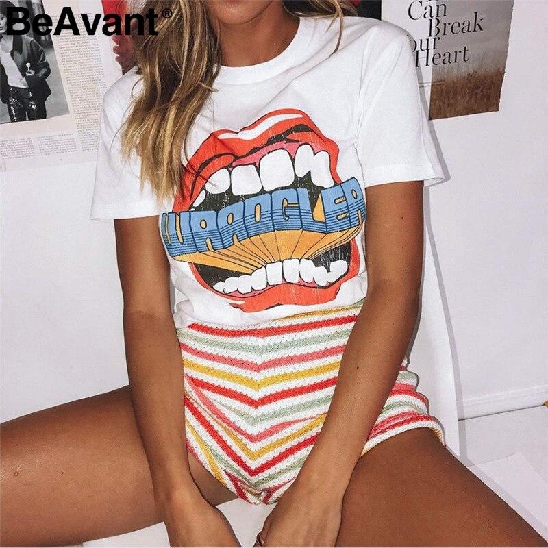 BeAvant Korean style casual white t shirt women Beach summer tops tees female clothing shirt O neck harajuku streetwear camis