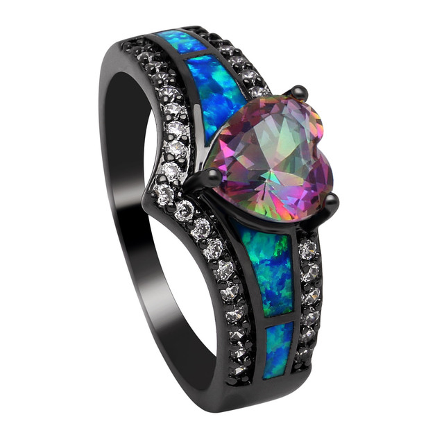 Black Plated Rainbow Blue Purple Stone Blue Opal Heart Rings for Women Wholesale Fashion Jewelry Cocktail Ring Gift RC0105