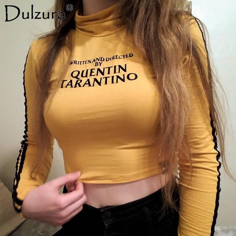 Dulzura cotton high neck long sleeve letters print t-shirt 2018 summer autumn women yellow tee sexy crop top
