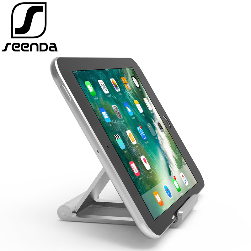 цена на Seenda Aluminum Tablet Stand Mobile Phone Holders Folding Adjustable Holder Bracket for iPhone 8 For Samsung for Galaxy for iPad