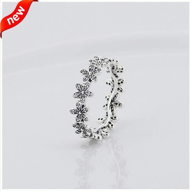 Daisy Rings With Clear Cubic Zirconia 100% 925 Sterling Silver Fine Jewelry Free Shipping
