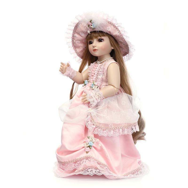 18 Fashion BJD Doll Real Babies Girls Toys for Girls Children's Birthday Gift,45cm Princess Doll with Beautiful Dress and Hat christmas costume dress for 18 45cm american girl doll santa dress with hat for alexander doll dress